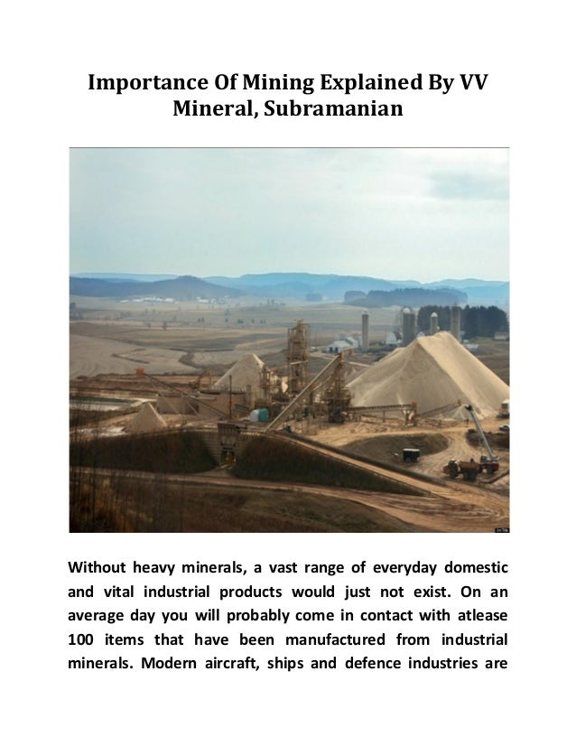 Importance Of Mining Explained By VV Mineral, Subramanian