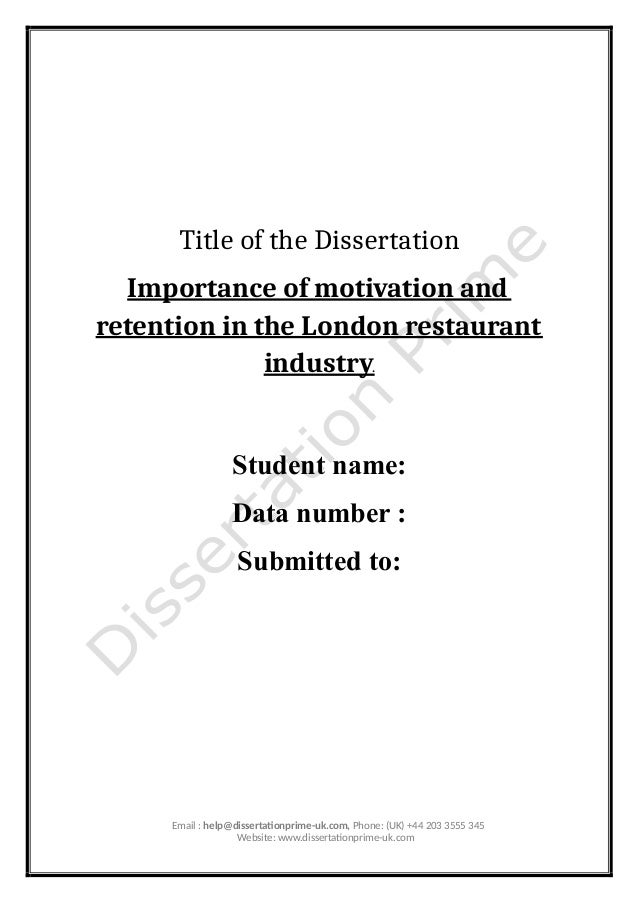 Restaurant management dissertation