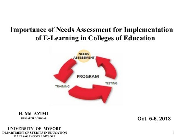 Importance of Needs Assessment for Implementation of E-Learning in Colleges of Education  H. Md. AZIMI RESEARCH SCHOLAR  O...
