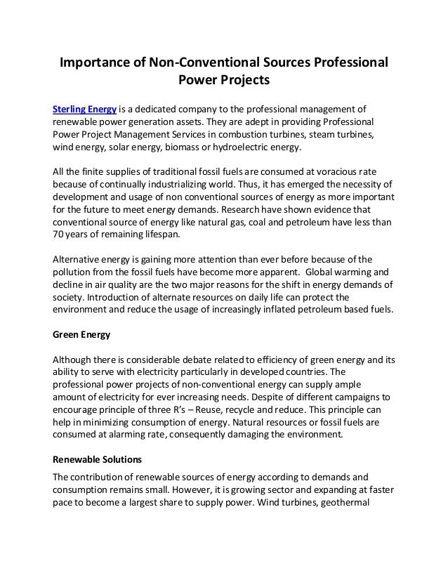 Major Non-Conventional Energy Sources found in India