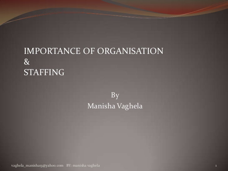 IMPORTANCE OF ORGANISATION      &      STAFFING                                              By                           ...
