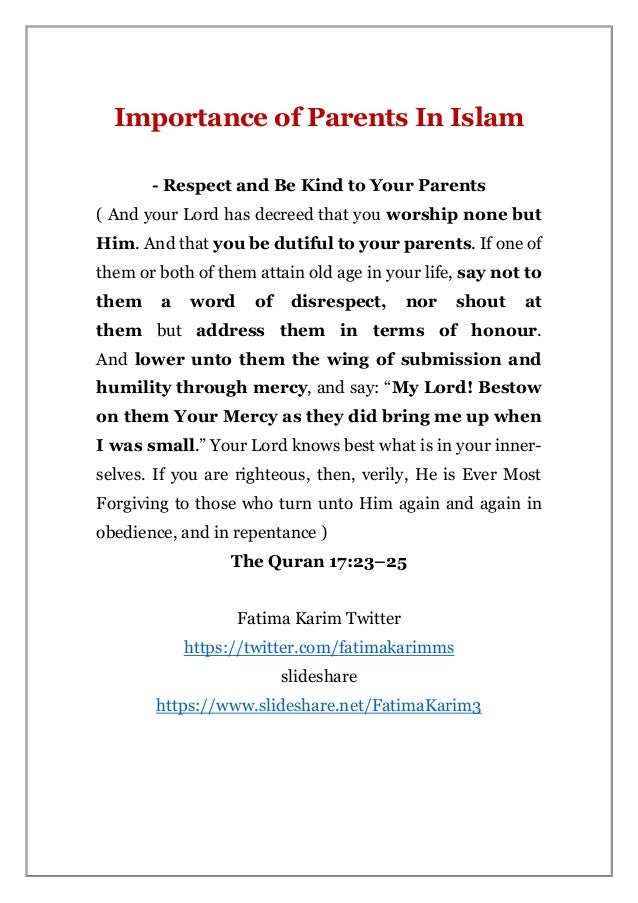 punishment for disrespecting parents in islam