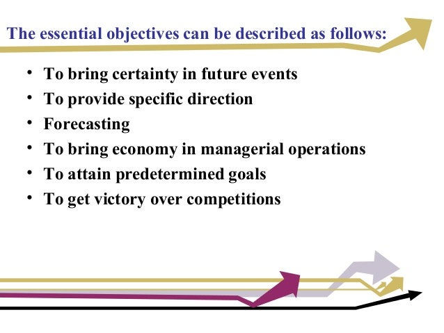 The essential objectives can be described as follows: • To bring certainty in future events • To provide specific directio...