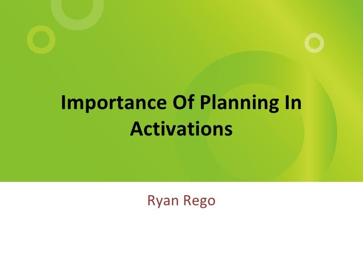 Importance Of Planning In Activations Ryan Rego