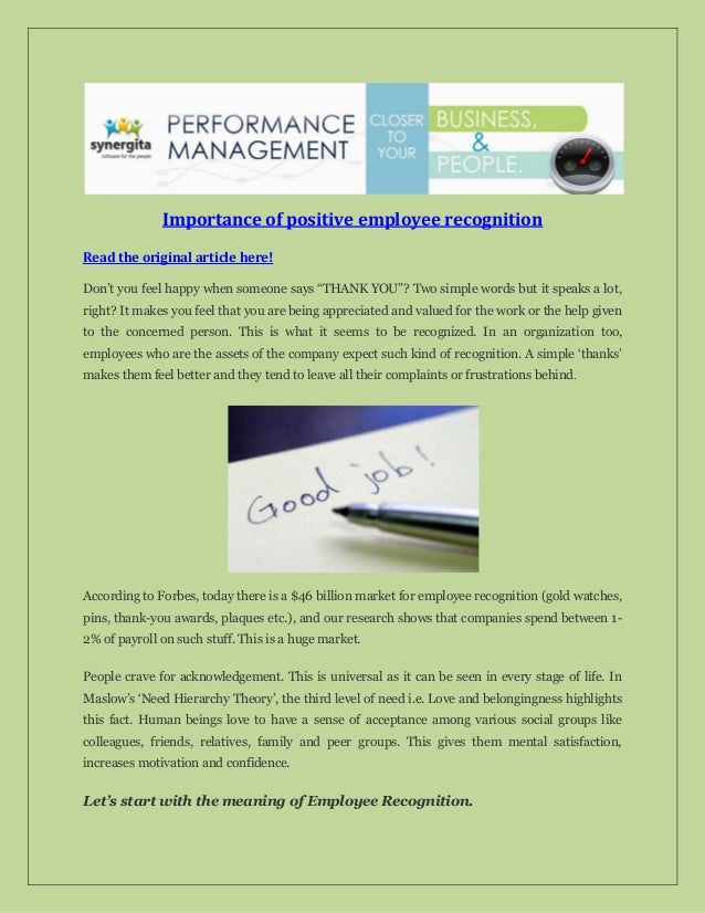 """Importance of positive employee recognition Read the original article here! Don't you feel happy when someone says """"THANK ..."""