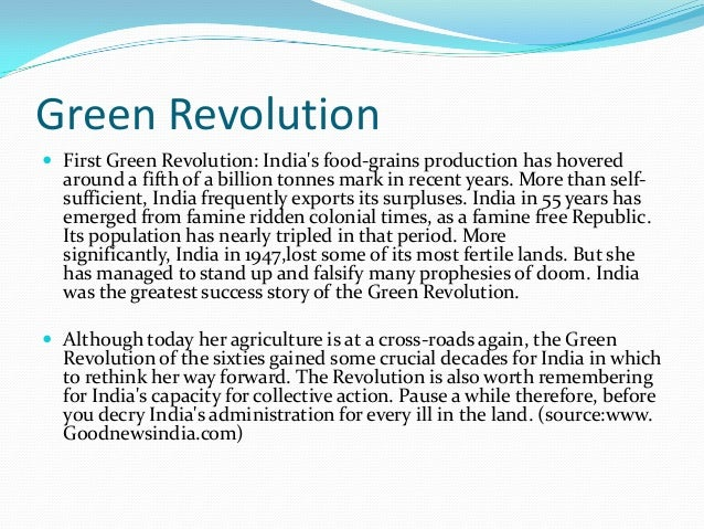 importance of primary sector green revolution