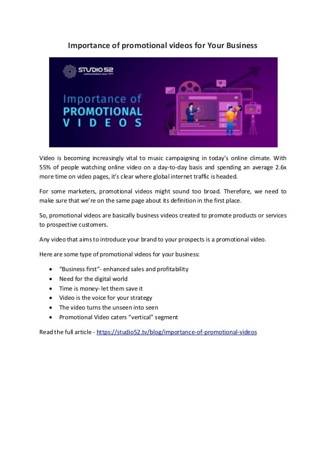 Importance of promotional videos for Your Business Video is becoming increasingly vital to music campaigning in today's on...