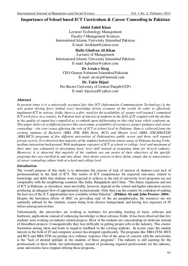 International Journal of Humanities and Social Science                             Vol. 1 No. 2; February 2011  Importance...
