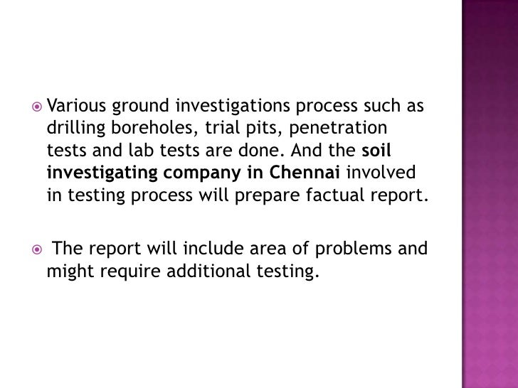 Importance of soil investigation process for Soil investigation report