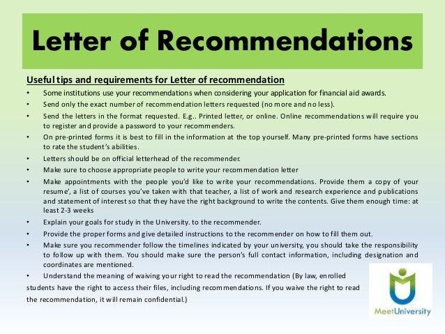 Sophas Recommendation Letters
