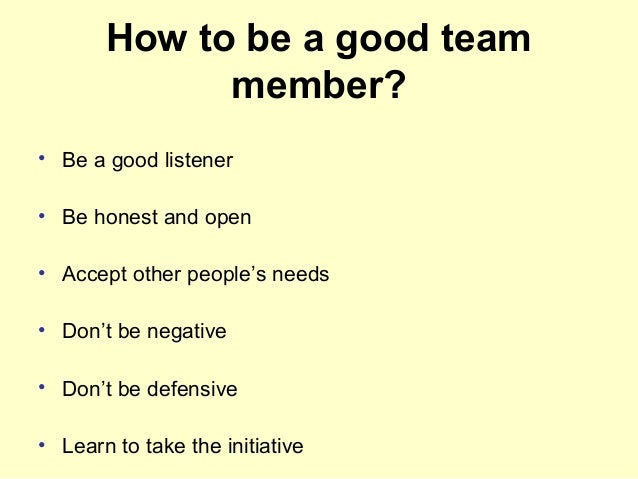examples of good team work