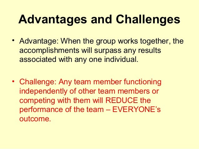 what are the advantages of working in a team
