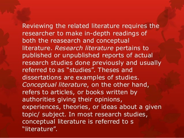 local and foreign literature and studies Foreign and local literature by conducting a research of some related studies and literature, it enables the researchers to understand the conducted study.