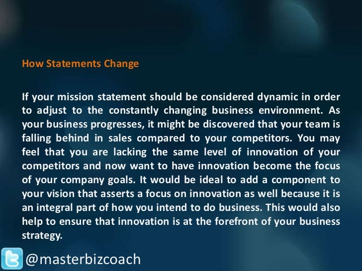 Nice Masterbizcoach; 3. How Statements ChangeIf Your Mission ...
