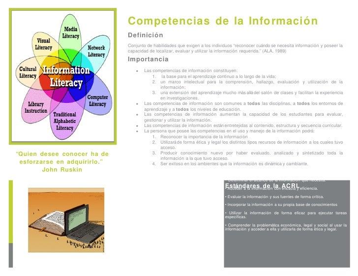Estándares de la ACRL <ul><li>Determinar el alcance de la información que necesita. </li></ul><ul><li>Acceder a la informa...