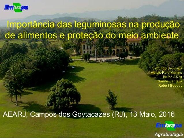 Importância das leguminosas na produção de alimentos e proteção do meio ambiente Segundo Urquiaga Marcio Reis Martins Brun...