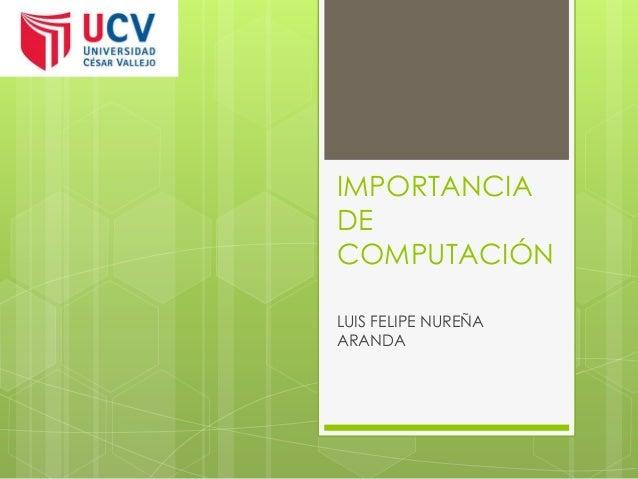 IMPORTANCIA DE COMPUTACIÓN LUIS FELIPE NUREÑA ARANDA