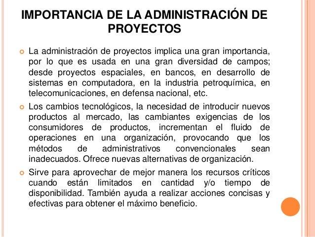 Importancia de la administracion de proyectos for Administracion de proyectos