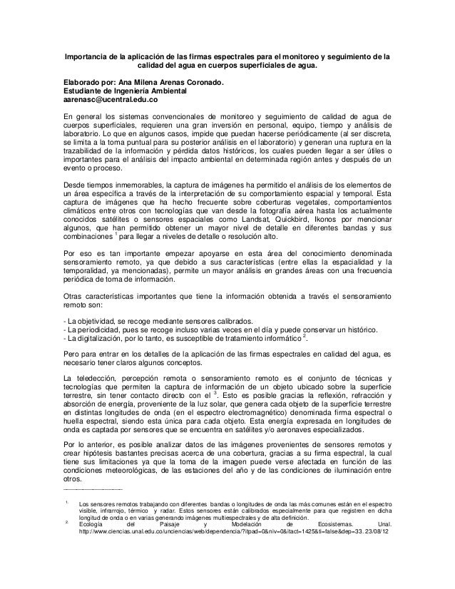 Importancia de la aplicación de las firmas espectrales para el monitoreo y seguimiento de la calidad del agua en cuerpos s...