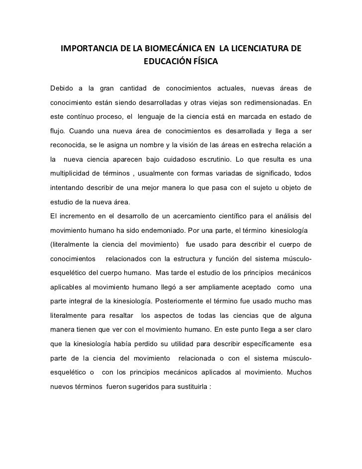 IMPORTANCIA DE LA BIOMECÁNICA EN LA LICENCIATURA DE                       EDUCACIÓN FÍSICADebido a la gran cantidad de con...