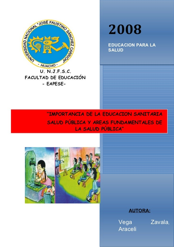 2008                           EDUCACION PARA LA                           SALUD     U. N.J.F.S.C.FACULTAD DE EDUCACIÓN   ...