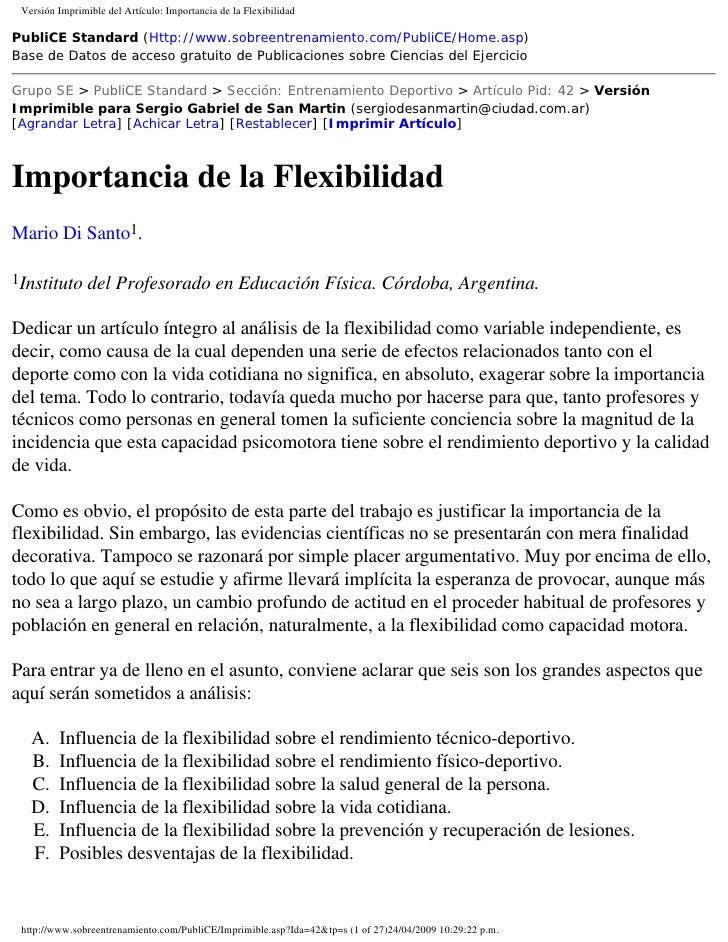 Versión Imprimible del Artículo: Importancia de la Flexibilidad  PubliCE Standard (Http://www.sobreentrenamiento.com/Publi...