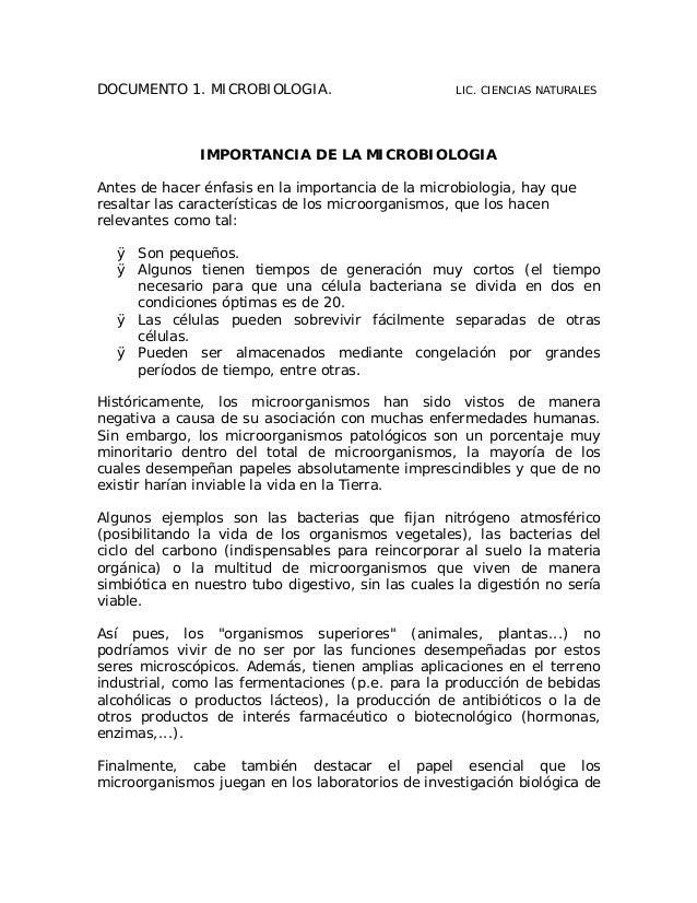 DOCUMENTO 1. MICROBIOLOGIA.                         LIC. CIENCIAS NATURALES               IMPORTANCIA DE LA MICROBIOLOGIAA...