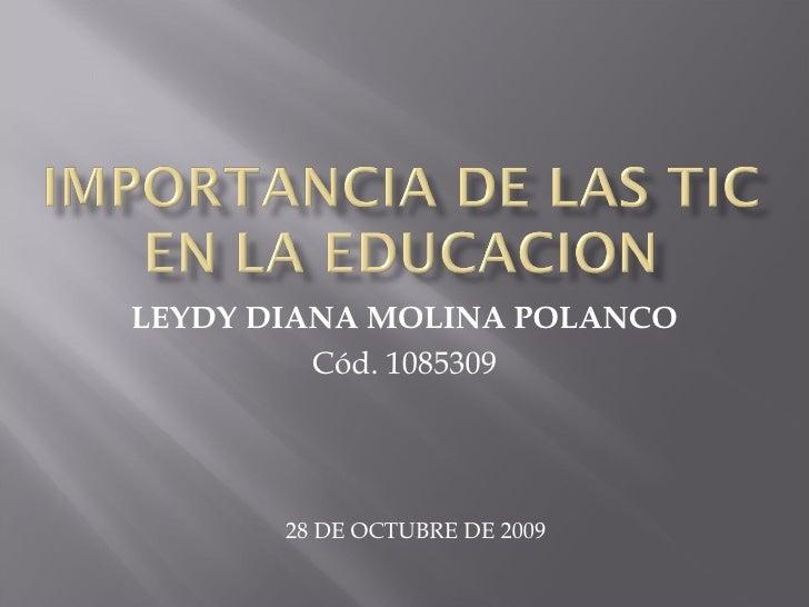 LEYDY DIANA MOLINA POLANCO Cód. 1085309 28 DE OCTUBRE DE 2009