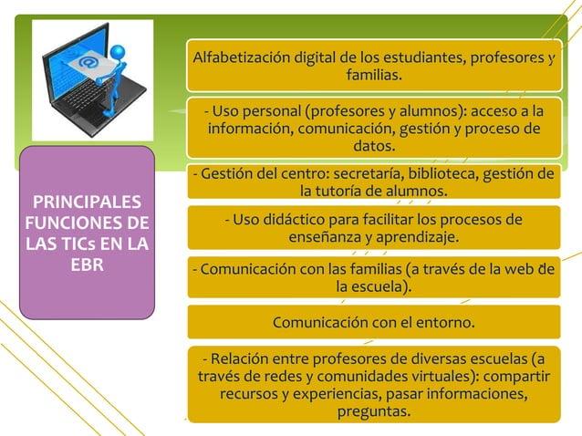 PRINCIPALES FUNCIONES DE LAS TICs EN LA EBR Alfabetización digital de los estudiantes, profesores y familias. - Uso person...