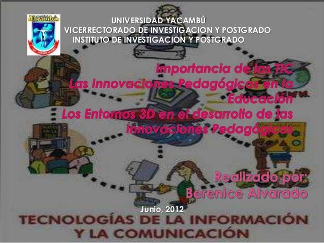 Junio, 2012 UNIVERSIDAD YACAMBÙ VICERRECTORADO DE INVESTIGACION Y POSTGRADO INSTITUTO DE INVESTIGACION Y POSTGRADO