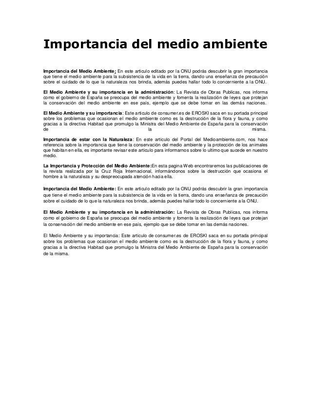 Importancia del medio ambienteImportancia del Medio Ambiente: En este articulo editado por la ONU podrás descubrir la gran...