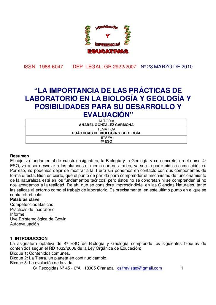 """ISSN 1988-6047            DEP. LEGAL: GR 2922/2007 Nº 28 MARZO DE 2010          """"LA IMPORTANCIA DE LAS PRÁCTICAS DE       ..."""