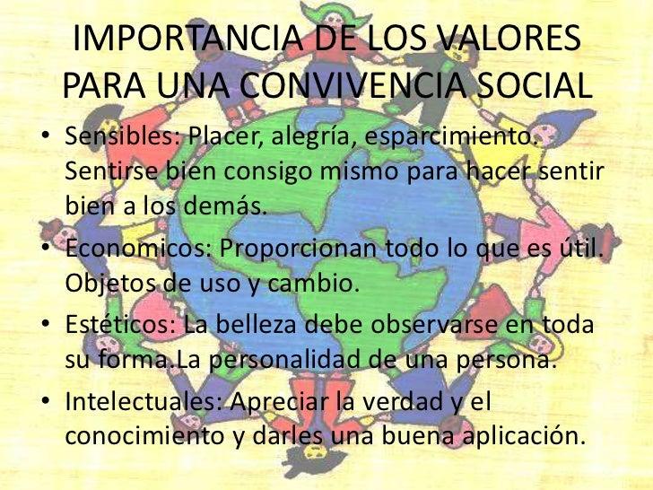 IMPORTANCIA DE LOS VALORES PARA UNA CONVIVENCIA SOCIAL<br />Sensibles: Placer, alegría, esparcimiento. Sentirse bien consi...