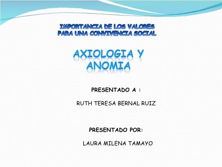 PRESENTADO A : RUTH TERESA BERNAL RUIZ PRESENTADO POR: LAURA MILENA TAMAYO