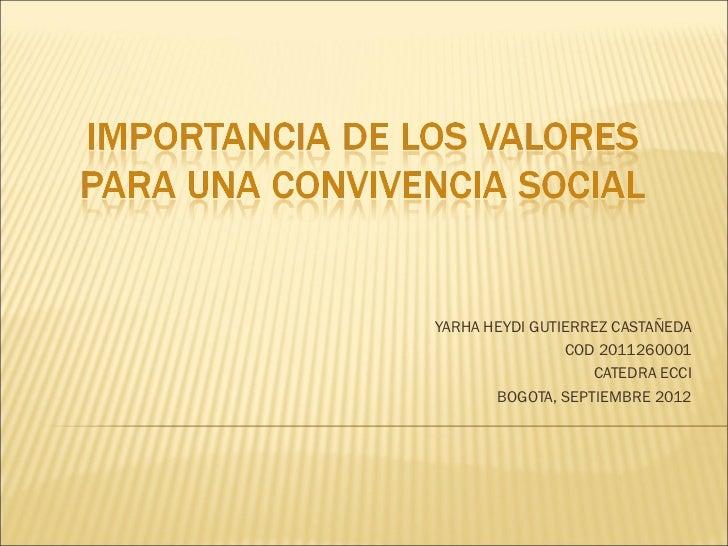 YARHA HEYDI GUTIERREZ CASTAÑEDA                COD 2011260001                   CATEDRA ECCI       BOGOTA, SEPTIEMBRE 2012