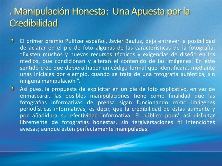 El primer premio Pulitzer español, Javier Bauluz, deja entrever la posibilidadde aclarar en el pie de foto algunas de las ...