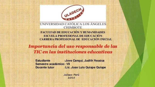 FACULTAD DE EDUCACIÓN Y HUMANIDADES ESCUELA PROFESIONAL DE EDUCACIÓN CARRERA PROFESIONAL DE EDUCACIÓN INICIAL Importancia ...