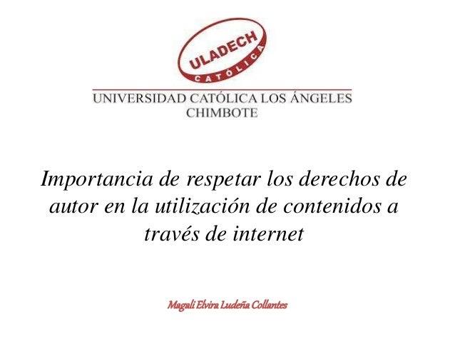 Importancia de respetar los derechos de autor en la utilización de contenidos a través de internet MagaliElviraLudeñaColla...
