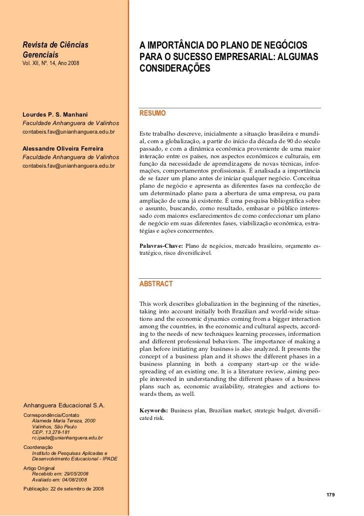 Revista de Ciências                      A IMPORTÂNCIA DO PLANO DE NEGÓCIOSGerenciais                               PARA O...