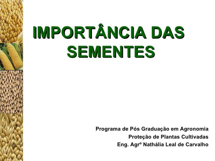 IMPORTÂNCIA DAS  SEMENTES Programa de Pós Graduação em Agronomia Proteção de Plantas Cultivadas Eng. Agr º  Nathália Leal ...