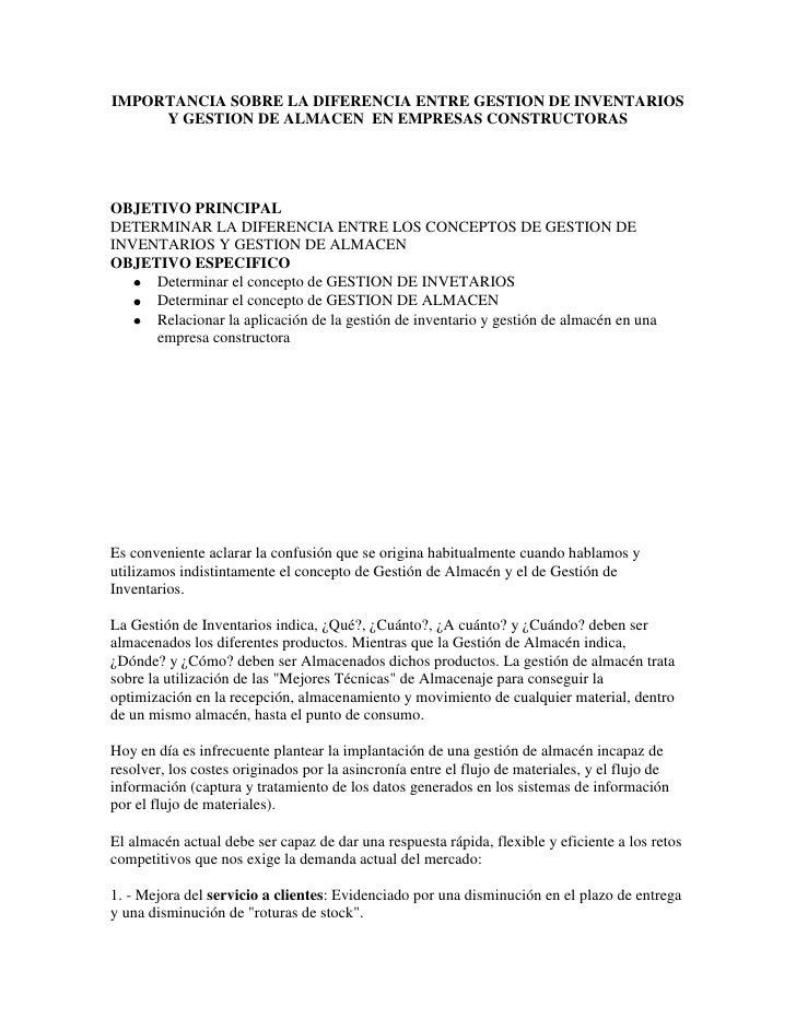 IMPORTANCIA SOBRE LA DIFERENCIA ENTRE GESTION DE INVENTARIOS     Y GESTION DE ALMACEN EN EMPRESAS CONSTRUCTORASOBJETIVO PR...