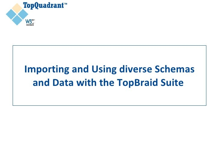 Importing and Using diverse Schemas   and Data with the TopBraid Suite