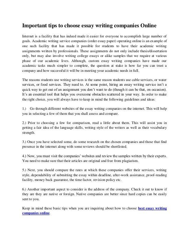 Essay writing companies legal