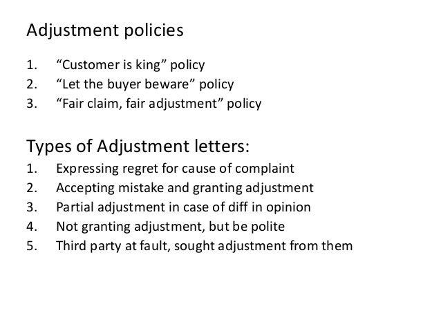Important business letters adjustment policies 1 altavistaventures Images