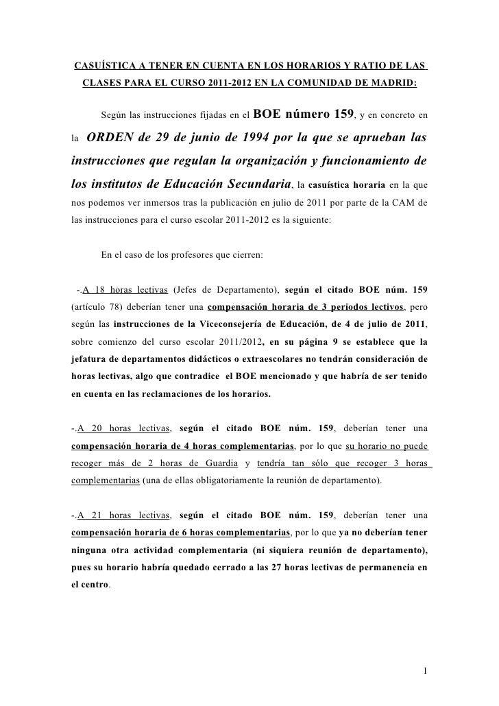 CASUÍSTICA A TENER EN CUENTA EN LOS HORARIOS Y RATIO DE LAS     CLASES PARA EL CURSO 2011-2012 EN LA COMUNIDAD DE MADRID: ...