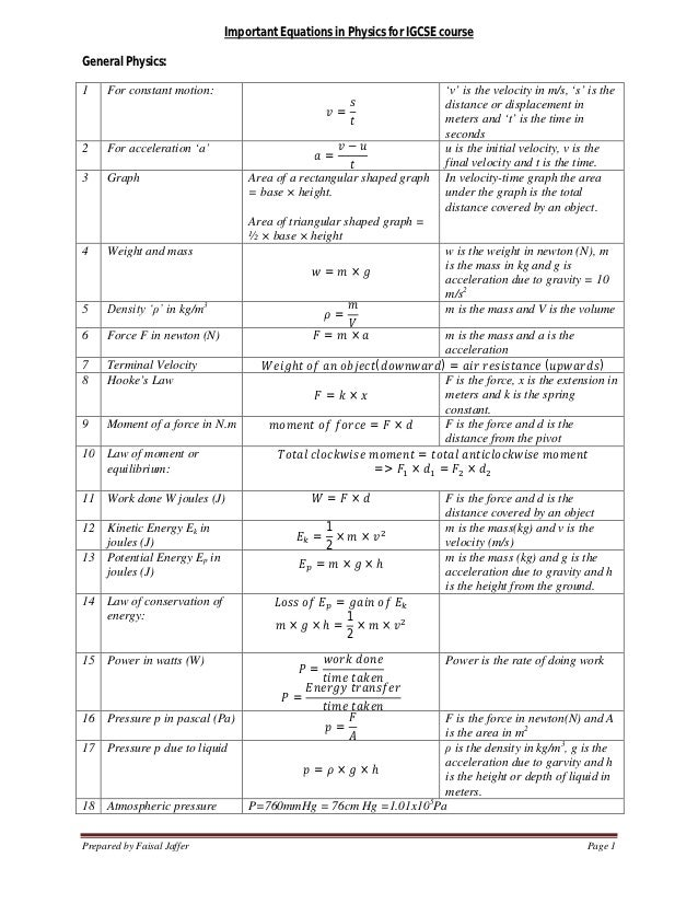 Important Equation In Physics2