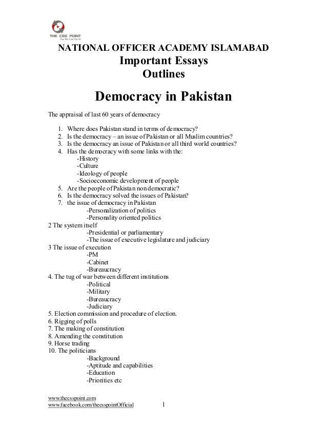 ESSAY ON DEMOCRACY IN PAKISTAN PDF DOWNLOAD