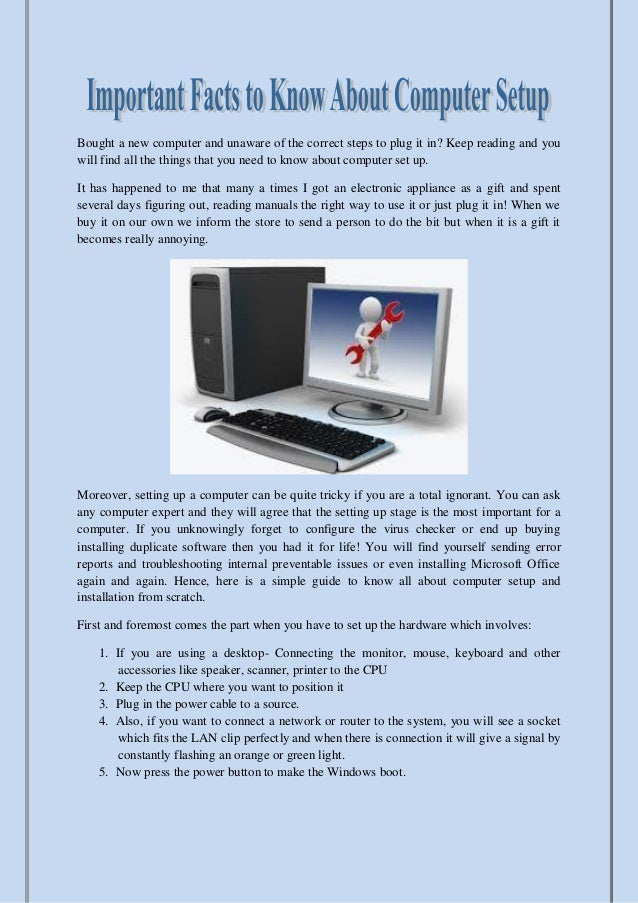 Important Facts To Know About Computer Setup