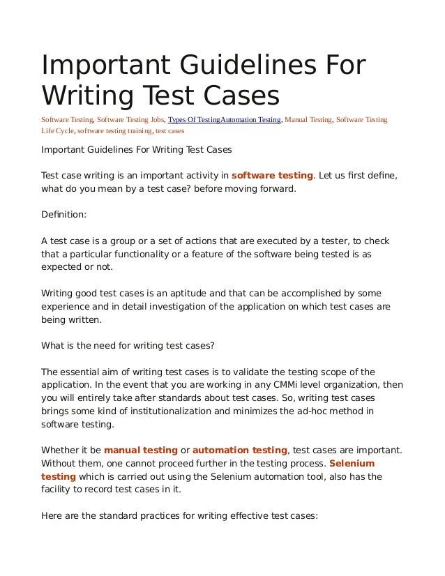 Important guidelines for writing test cases