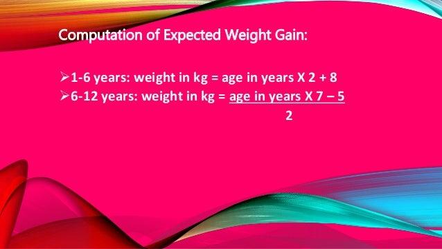 Computation of Expected Weight Gain: 1-6 years: weight in kg = age in years X 2 + 8 6-12 years: weight in kg = age in ye...